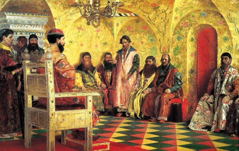 Андрей Рябушкин - Сидение царя Михаила Фёдоровича с боярами в его государевой комнате.jpg