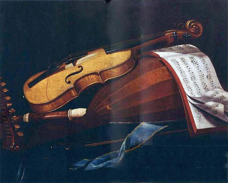 7-Эваристо Баскенис (приписывается) (1617–1677) - Натюрморт с музыкальными инструментами и нотной тетрадью - Около 1650.jpg