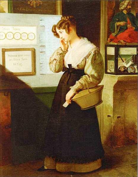 16-Петер Фенди (1796–1842) - Девушка перед стендом с лото - 1829.jpg