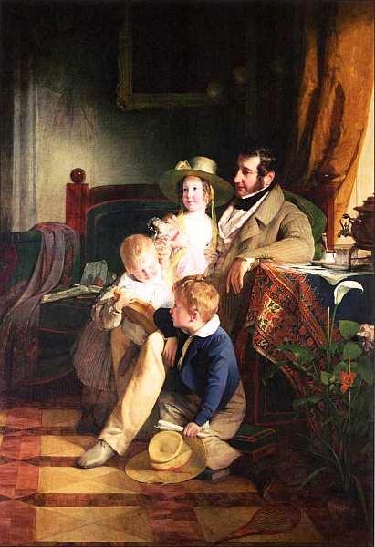 18-Фридрих фон Амерлинг (1803–1887) - Рудольф фон Артхабер со своими детьми Рудольфом Эмилией и Густавом рассматривают портрет умершей матери Иоганны…