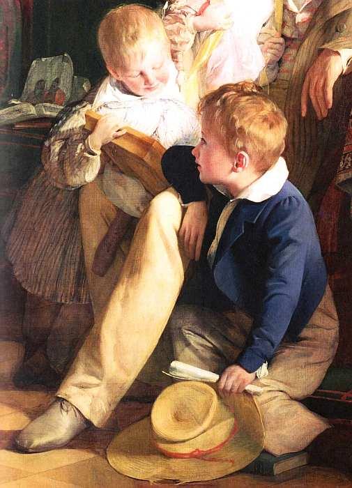 19-Фридрих фон Амерлинг (1803–1887) - Рудольф фон Артхабер со своими детьми Рудольфом Эмилией и Густавом рассматривают портрет умершей матери Иоганны…