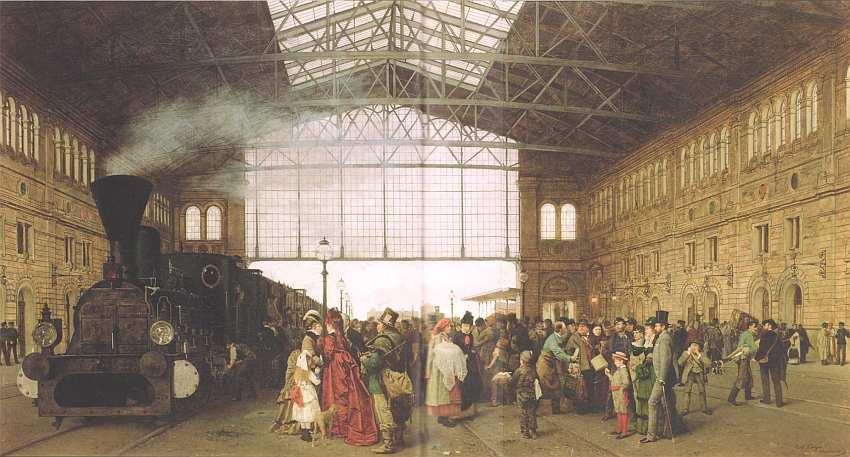 34-Карл Каргер (1848–1913) - Прибытие поезда на венский вокзал - 1875.jpg