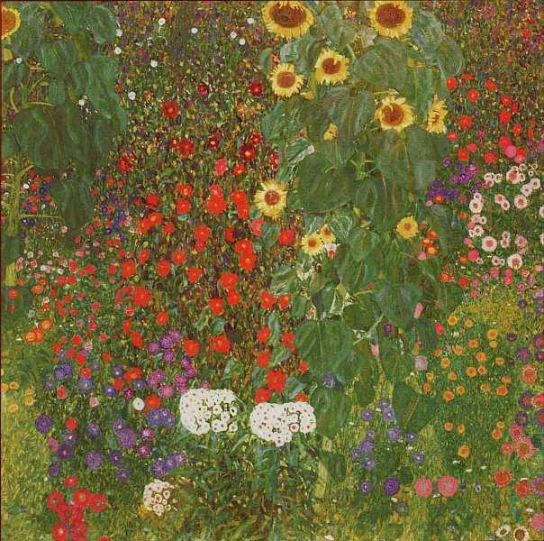 45-Густав Климт - Фермерский сад с цветами (Сад пивоваренного завода города Литцлъберг на Аттерзее) - Около 1906.jpg