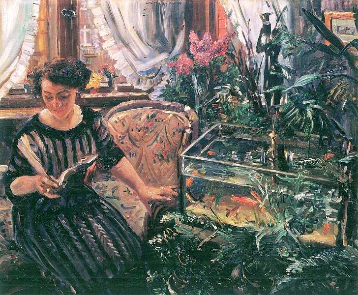 56-Ловис Коринт (1858–1925) - Дама у аквариума с золотыми рыбками - 1911.jpg