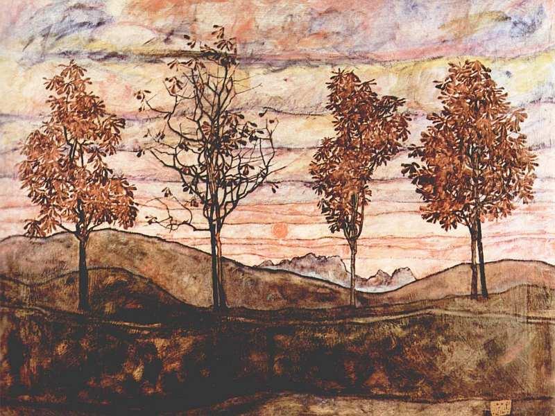 71-Эгон Шиле (1890–1918) - Четыре дерева - 1917.jpg