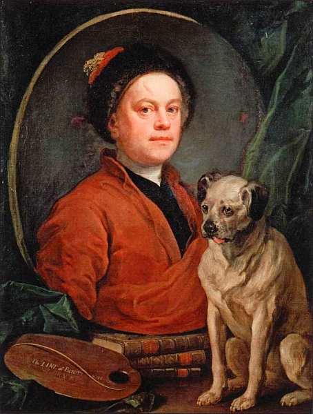 7-Уильям Хогарт (1697–1764) Художник и его мопс 1745.jpg