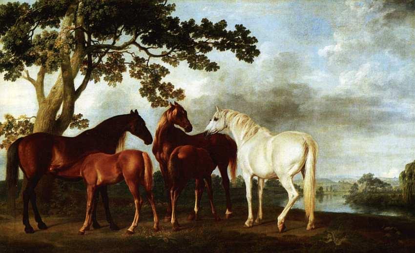 9-Джордж Стаббс (1724–1806) Кобылы и жеребята на фоне пейзажа с рекой Около 1763–1768.jpg