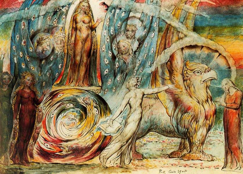 26-Уильям Блейк (1757–1827) Беатриче, обращающаяся к Данте со своей колесницы 1824–1827.jpg