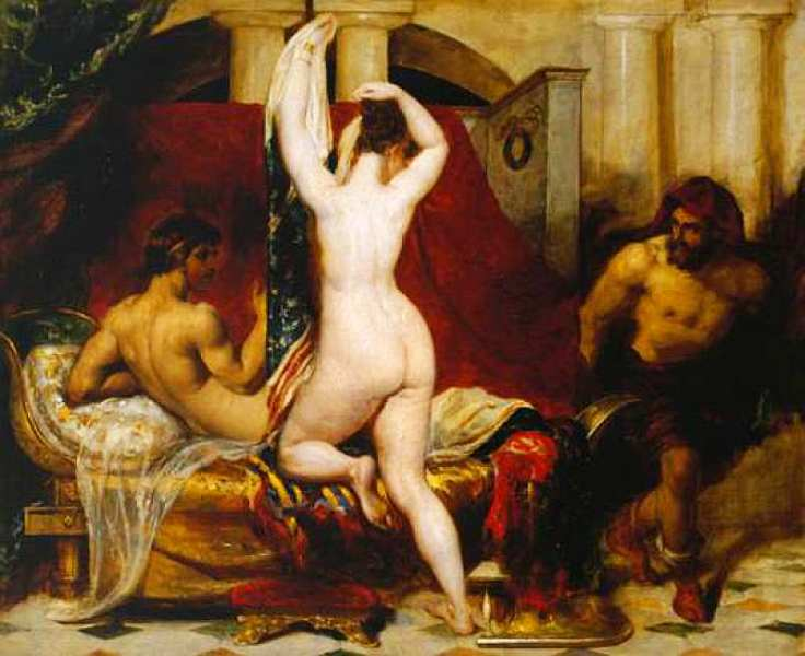 27-Уильям Этти (1787–1849) Кандавл, царь Лидии, в тайне от красавицы-жены показывает ее наготу своему телохранителю Гигесу. 1830.jpg