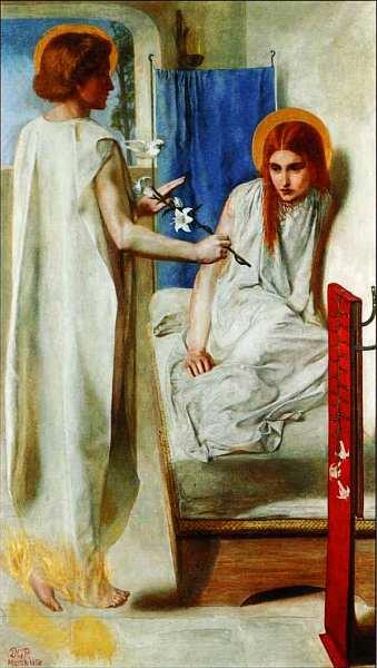 28-Данте Габриэль Россетти (1828–1882) Ессе Ancilla Domini! (Благовещение) 1849–1850.jpg