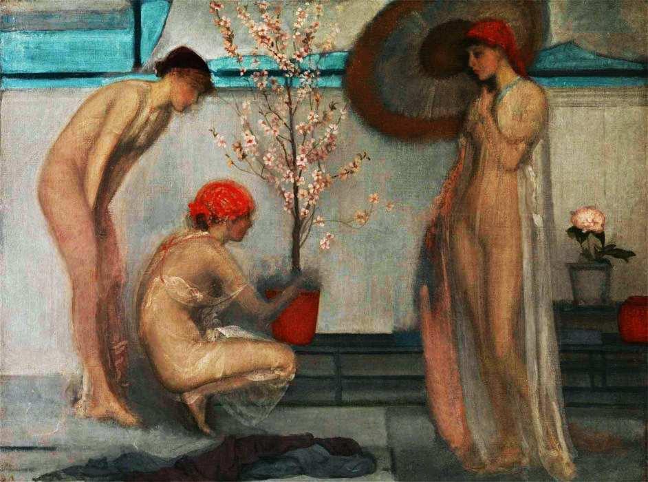 43-Джеймс Эббот Макнил Уистлер (1834–1903) Три фигуры розовый и серый 1868–1878.jpg
