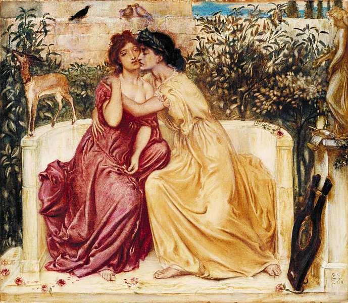 44-Симон Соломон (1840–1905) Сафо и Эринна в митиленском саду 1864.jpg