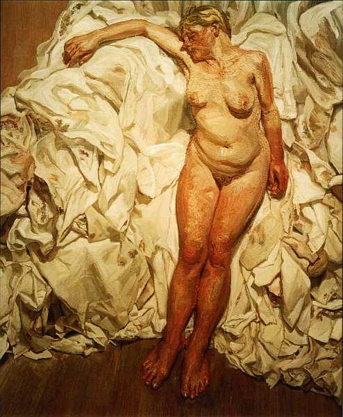 77-Люсьен Фрейд (1922–2011) Стоящая на фоне тряпок 1988–1989.jpg