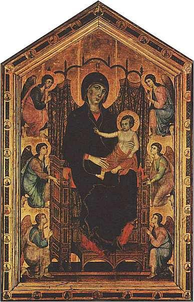 10-Дуччо ди Буонинсенья (12501260-13181319) Мадонна с Младенцем и ангелами (Мадонна Ручеллаи) 1285. Дерево, темпера.jpg