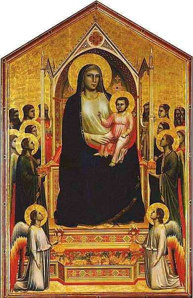 11-Джотто (Джотто ди Бондоне) (около 12671275-1337) Мадонна с Младенцем и ангелами (Мадонна Оньисанти). Около 1306–1310. Дерево, темпера.jpg