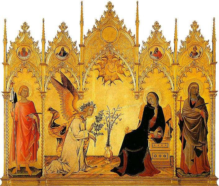 12-Симоне Мартини (около 1284–1344) Благовещение 1333. Дерево, темпера.jpg