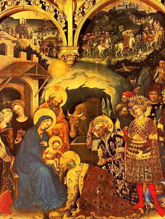 15-Джентиле да Фабриано (около 1370–1427) Поклонение волхвов 1423. Дерево, темпера (фрагмент).jpg
