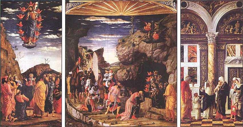 19-Андреа Мантенья (около 1431–1506) Триптих с Поклонением волхвов, Обрезанием и Вознесением 1460–1464.jpg