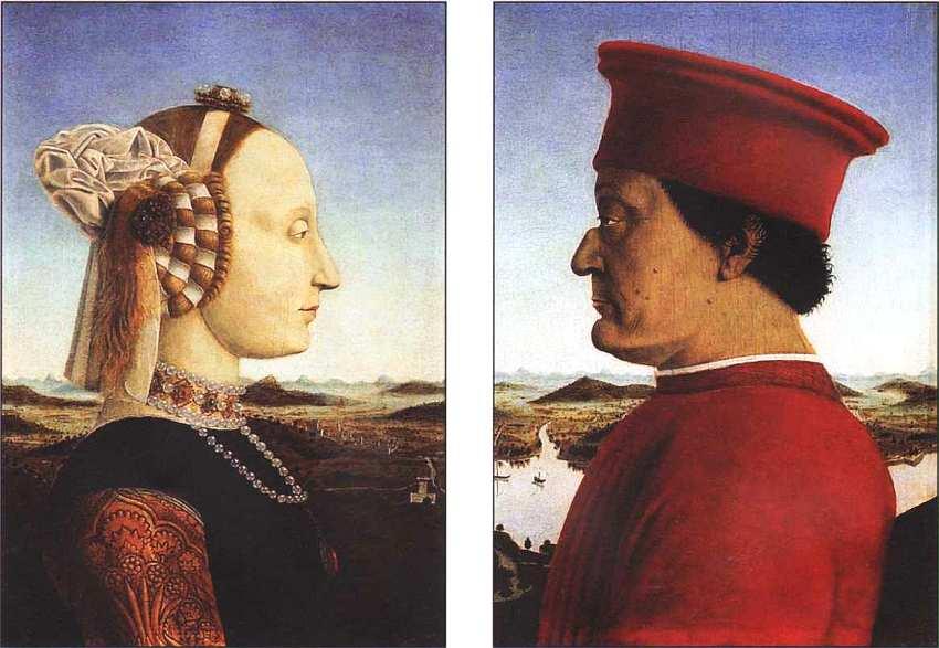 22-Пьеро делла Франческа (14101420-1492) Портреты Федерико да Монтефельтро Урбинского и Баттисты Сфорцы 1465.jpg