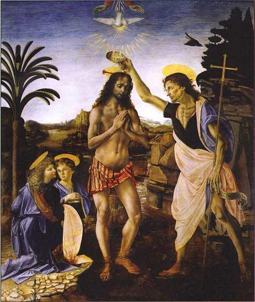 23-Андреа Верроккьо (14351436-1488) Леонардо да Винчи (1452–1519) Крещение Христа 1470–1475.jpg