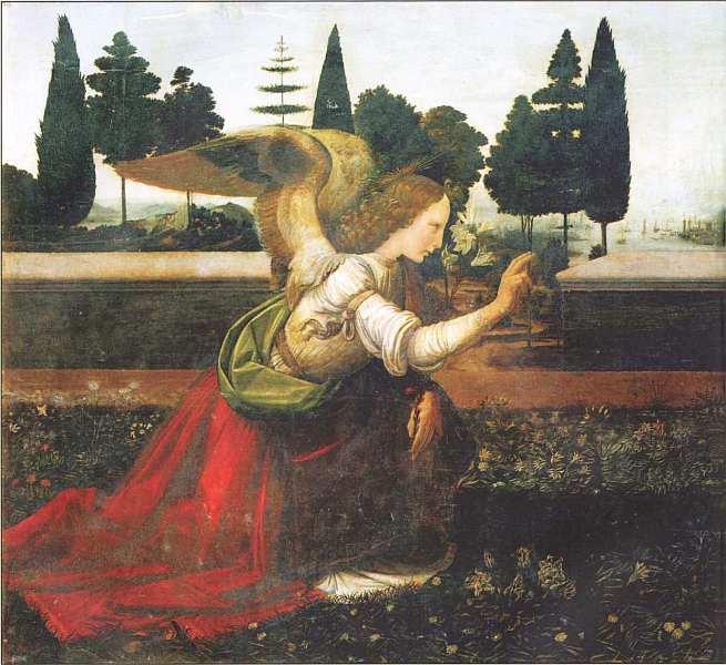 25-Леонардо да Винчи (1452–1519) Благовещение Около 1472.jpg