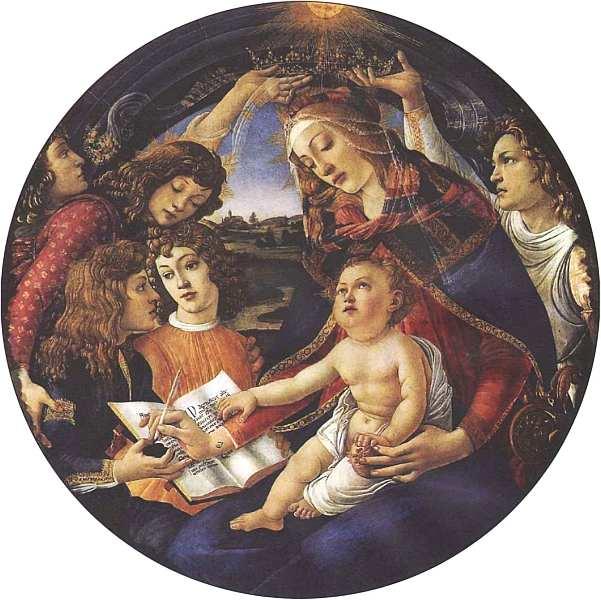 31-Сандро Боттичелли (1445–1510) Мадонна с Младенцем и ангелами (Мадонна дель Магнификат) 1483.jpg