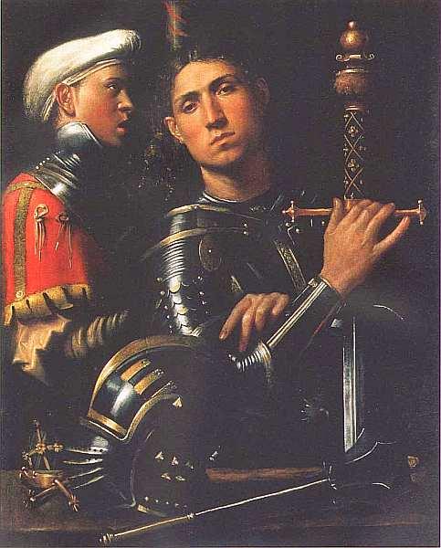 38-Джорджоне(предположительно) (14761478()-1510) Воин и оруженосец (Гаттамелата). Около 1505–1510.jpg