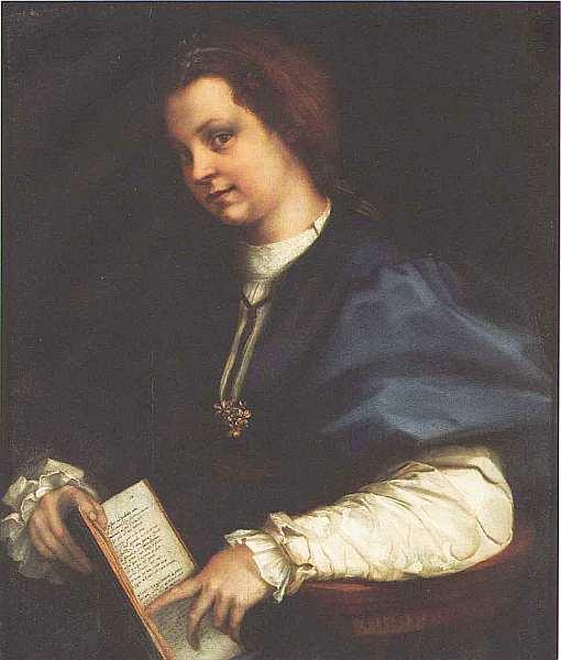 48-Андреа дель Сарто (1486–1531) Портрет девушки с книгой стихов Петрарки 1528.jpg