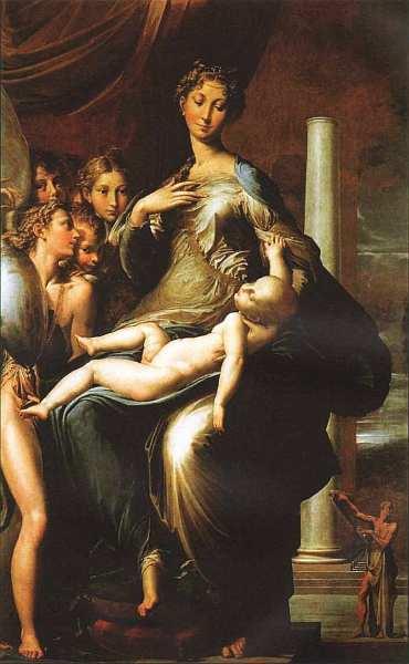 53-Пармиджанино (Франческо Маццола) (1503–1540) Мадонна с Младенцем, ангелами и пророком (Мадонна с длинной шеей) 1534–1540.jpg