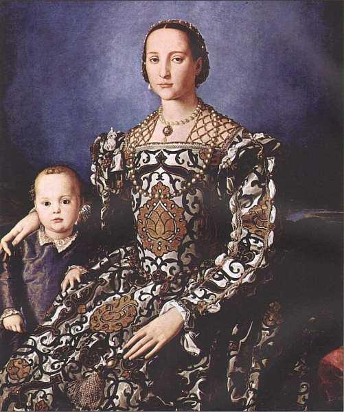 55-Аньоло Бронзино (1503–1572) Портрет Элеоноры Толедской с сыном Джованни Медичи 1545.jpg