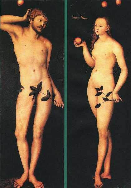 74-Лукас Кранах Старший. Адам и Ева. 1528.jpg