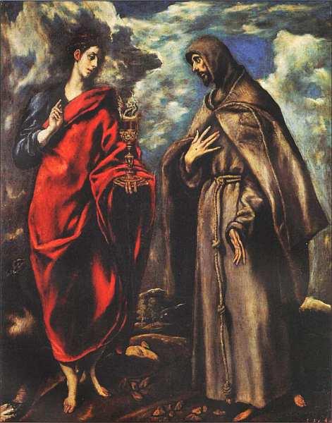 82-Эль Греко (Доменикос Теотокопулос) (1541–1614) Святой Иоанн Евангелист и святой Франциск Ассизский Около 1600.jpg