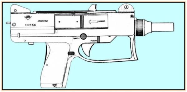 Опытный пистолет-пулемёт К4 (Аргентина. 1988 год).