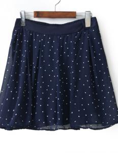 blue polka dots skort