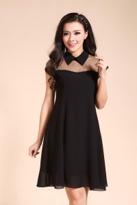 Peterpan collar mesh dress 2
