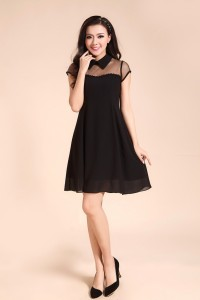 Peterpan collar mesh dress