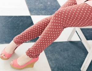 polka dots legging colours pink