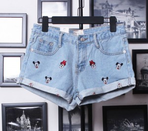 mickey mouse denim short