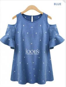 polka dots off shoulder blue
