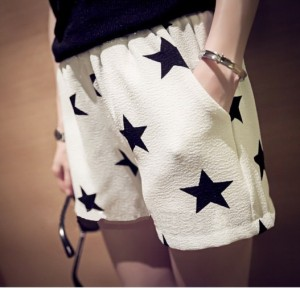 Starry Chiffon Shorts white m