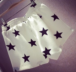 Starry Chiffon Shorts white