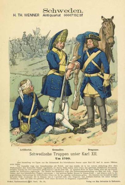 Schweden_Schwedische_Truppen_Karl_XII_Artillerist_Grenadier_Dragoner_Uniformblatt_Altkol_Zinkographie_Knotel