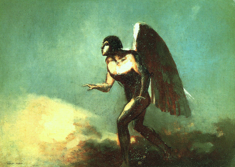 Odilon Redon the-winged-man-the-fallen-angel-1880