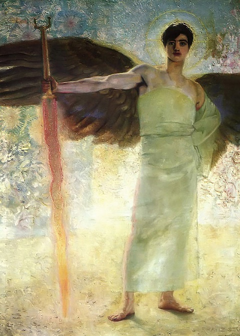 Franz Von Stuck The Guardian of Paradise 1889