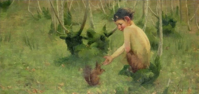 Marianne Stokes-faun feeding a squirrel