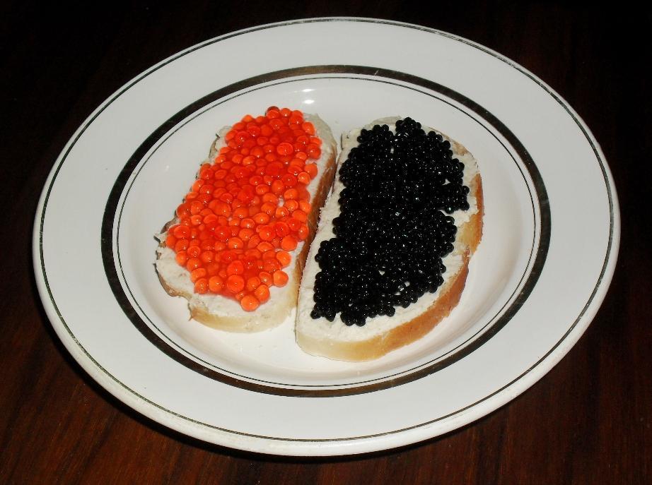 бутерброд с красной и черной икрой фото тому же, жалобы