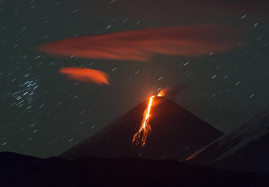 Eruption of the Klyuchevskaya volcano.Three years later.