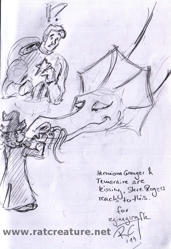 pencil sketch, Hermione is kissing Temeraire, Captain America is baffled