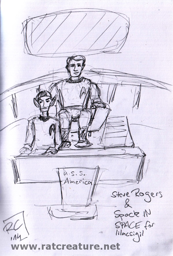 pencil sketch, Captain Rogers and Spock on the bridge of the USS America
