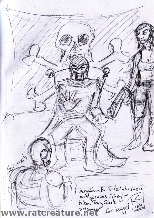 pencil sketch, Aeryn and Magneto are pirates, Magneto holds Iron Man with his powers
